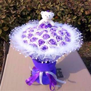 Cute Teddy Bear Plushie Purple Rose Bouquet Flower for Gifts Valentines Day Gifts