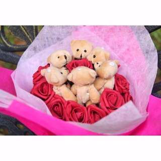 ❤Valentines Day Special❤ Cute Brown Teddy Bear Plushie Red Roses Bouquet Flower for Gifts Valentines Day Mothers day Gifts ( 6 Teddy Bear )
