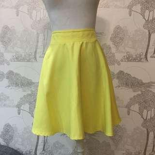 High Waisted Yellow Mini Skirt   Rok Kuning