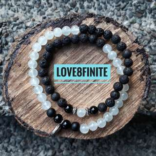 Prehnite + lava stone + black agate + frosted onyx double wrap bracelet