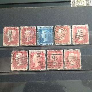 GB blue/Red penny used stamps