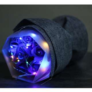 Premium LED Colour Light Changing Purple Rose Bouquet Flower for Gifts