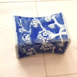 Tang inspired white and blue porcelain pillow