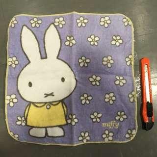 Miffy 手帕 毛巾 面巾 淺紫色 兔子 軟綿綿