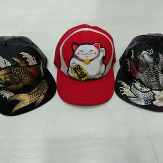 Koi fish and lucky cat caps for sale