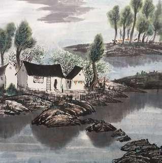 画家楊德山68x68cm Chinese painting