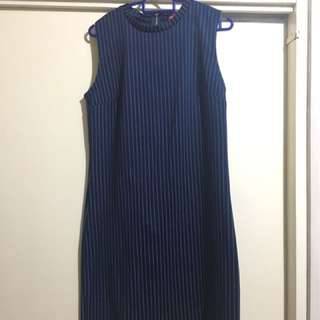 Redhead navy blue striped dress