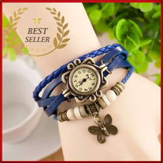 BLUE - Fashion Weave Leather Charms Watches Women Quartz Wrist Watches Pendants Wing Butterfly Heart Eiffel Tower Starfish Moon Crown.- CASH ON DELIVERY!