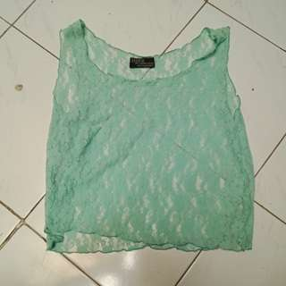 Turquoise/Green Lace Tank Top