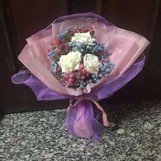 White rose blue pink baby breath Fake Flower Bouquet valentine day gift