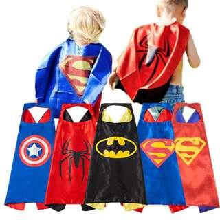 Super Heroes Satin Cape Cloak,Superman,Spiserman,Captain America,Batman 1-12y