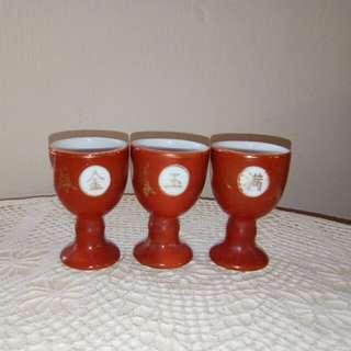 3 Vintage footed tea/wine cups
