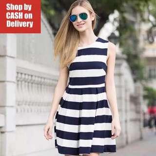 Blue white stripes dress