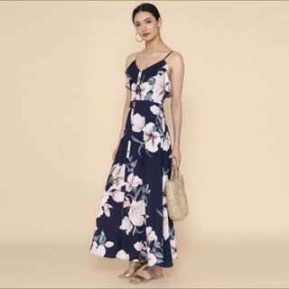 Supergurl Hannah Floral Maxi Dress (Navy)