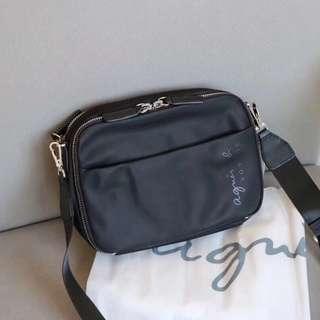 Agnes B Nylon Travel Sling Cross Body Bag  Black