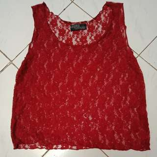 Maroon Red Lace Tank Top