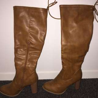 Tan knee high boots - WINDSOR