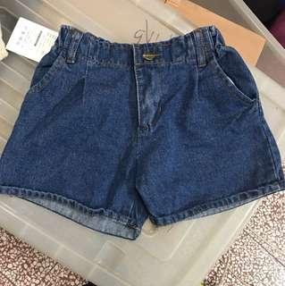 🚚 🔴深藍鬆緊腰牛仔短褲