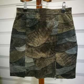 Vintage Leather Fish Scale Mini Skirt