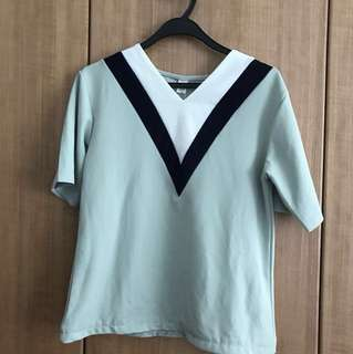 V Neck Top Korean Style Shirt Turquoise