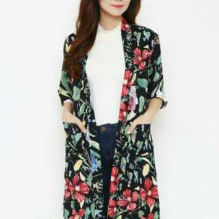 NEW !! Long Outer Floral Black