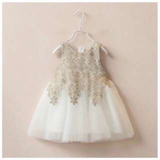 BNIB Girls' Toddlers Baby Kids Gold Lace Party Dress