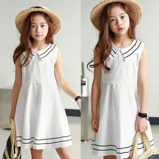 [INSTOCK] WHITE FLARE DRESS FOR GIRLS 3-16 Yrs Adult size also available