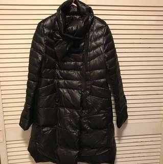 黑色羽絨長身外套-Black long coat(80pct down)
