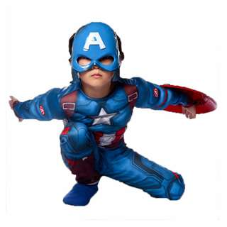 Captain America Muscle Kids Costume with LED Mask