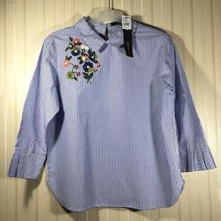 Connexion Stripe Embroidery Biru