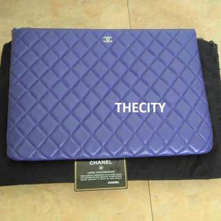 AUTHENTIC CHANEL LARGE O-CASE IN LAMBSKIN LEATHER (BLUE)