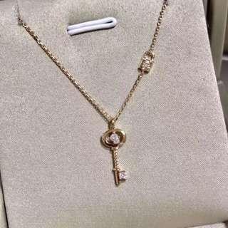情人節推薦🔑心靈鎖鑰18k玫瑰金天然鑽石頸鏈❤️可愛禮物女朋友閨蜜