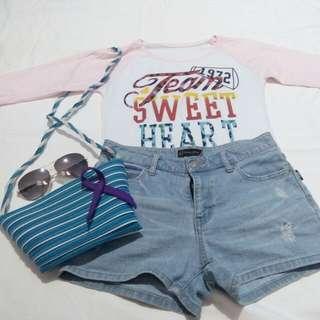 🌻semi long-sleeved pastel pink top