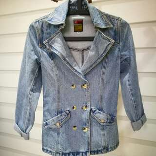 Double-Breasted Vintage Thick Washed Denim Blazer Coat