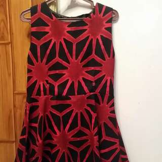 Black with red print detail skater dress