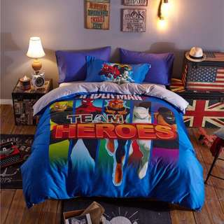 [A18] 4 Piece Marvel Heroes Bedsheet Set