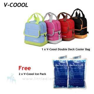 V coool double deck cooler bag + ice brick