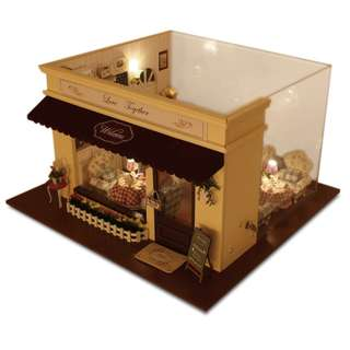 DIY miniature doll house with lights and music - Melody Of Love Coffee House