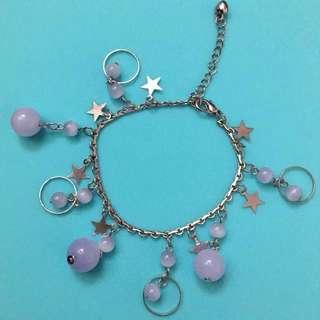 珠珠星星手鏈 bracelet 可調較大細 (淡紫色)