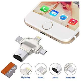 4 in 1 SD Card Reader with Lightning/Type-C/USB/MicroUSB