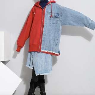 ~ Denim + Red Hoodie Jacket ~