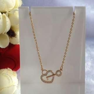Bangkok Gold 10k Heart Key Center Chain Necklace