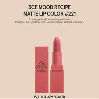 3CE Mood Recipe Matte Lipstick MELLOW FLOWER