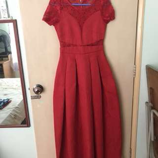 Lacey red maxi dress (for rental)