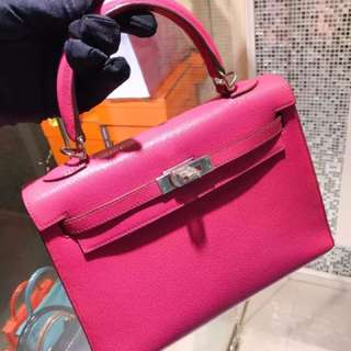 Hermes Kelly 25 糖果桃粉色🌸外縫 稀有品小可愛