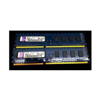 Kingston 金士頓 DDR3-1600 4G 桌上型記憶體 PC3-12800U 2G*2
