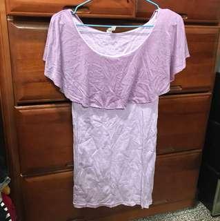 🚚 🔴休閒平口紫色小洋裝