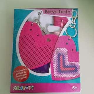Brand New Cross Stitch Heart Keychain