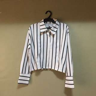 Black & White Striped Cropped Polo
