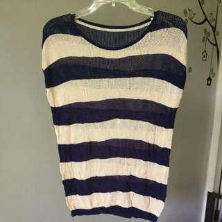 Sweater stripe navy cream see thru